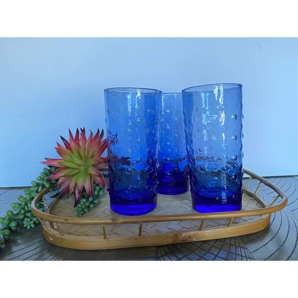 Vintage Libbey Cobalt Blue Hobnail Tumblers